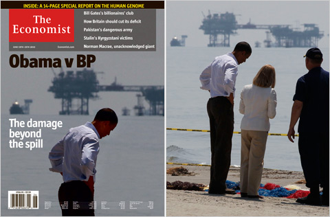 President Obama on the magazine  cover and in the original photograph with Charlotte Randolph, president  of a Louisiana parish, and Adm. Thad W. Allen of the Coast Guard. Right  photo by Larry Downing/Reuters